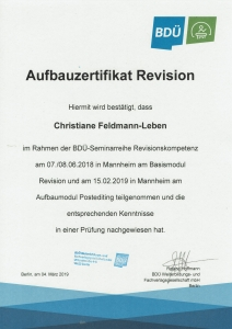 Zertifikat Seminare Revision und Post-Editing