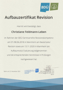 Zertifikat Aufbaumodul Evaluierung
